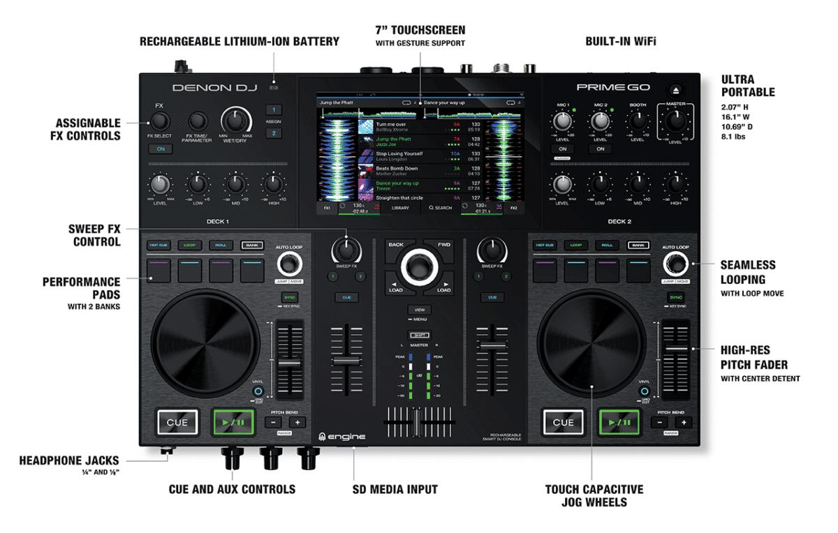 Denon DJ Prime Go Rechargeable Smart DJ Console with Touchscreen